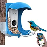 JOW Smart Bird Feeder with Camera WiFi APP Install, Quality Visual Storage Intelligent Feeders, Night-Version Video Camera, Heavy Duty Aluminium Base for Waterproof Outside/Yard/House /Tree Buddy