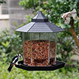 SAND MINE Panorama Bird Feeder, Hexagon Shaped with Roof Hanging Bird Feeder for Garden Yard Decoration (Black)