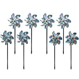 Bird Blinder Repellent PinWheels – Sparkly Holographic Pin Wheel Spinners Scare Off Birds and Pests (Set of 8) - Pre-Assembled