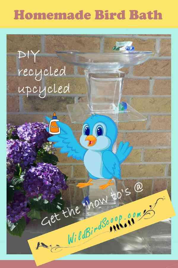 "A Pinterest image with a homemade birdbath. Heading text reads ""Homemade bird bath."""