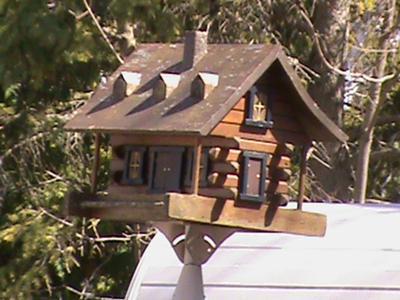 A log cabin looking bird house.